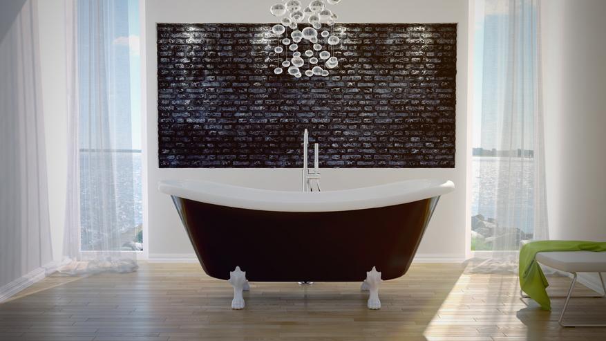 Cada freestanding cu design retro Besco Amelia Black & White