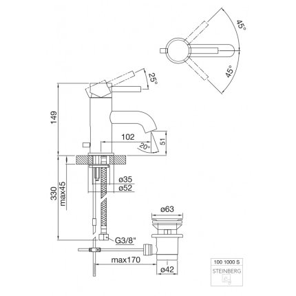 Baterie lavoar Steinberg Seria 100 ventil pop-up, Matt Black