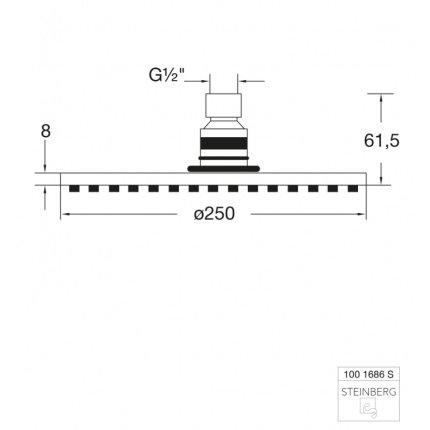Palarie de dus Steinberg Seria 100 Matt Black Rain, 250mm