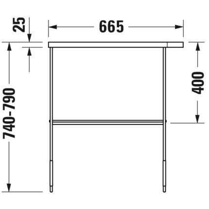 Consola metalica pe pardoseala pentru lavoar Duravit DuraSquare 665x451mm, cu port-prosop reversibil, fara raft, negru mat