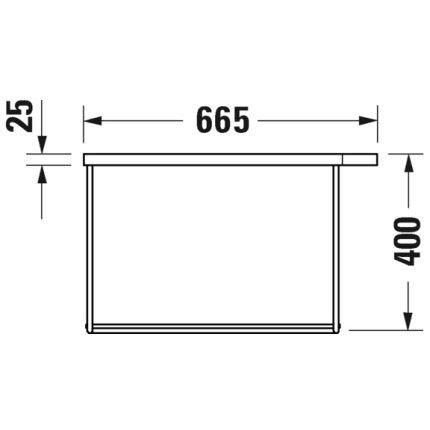 Consola metalica suspendata pentru lavoar Duravit DuraSquare 665x451mm, cu port-prosop reversibil, fara raft, crom