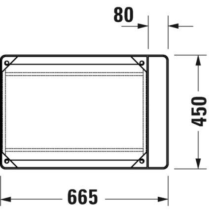 Consola metalica suspendata pentru lavoar Duravit DuraSquare 665x451mm, cu port-prosop reversibil, fara raft, negru mat