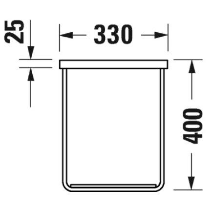 Consola metalica suspendata pentru lavoar Duravit DuraSquare 516x333mm, cu port-prosop reversibil, fara raft, crom
