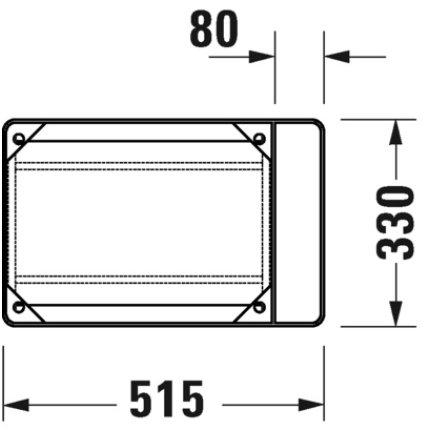 Consola metalica suspendata pentru lavoar Duravit DuraSquare 516x333mm, cu port-prosop reversibil, fara raft, negru mat