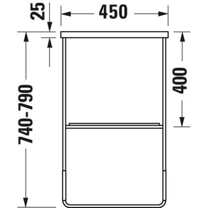 Consola metalica pe pardoseala pentru lavoar Duravit DuraSquare 865x451mm, cu port-prosop reversibil, fara raft, negru mat