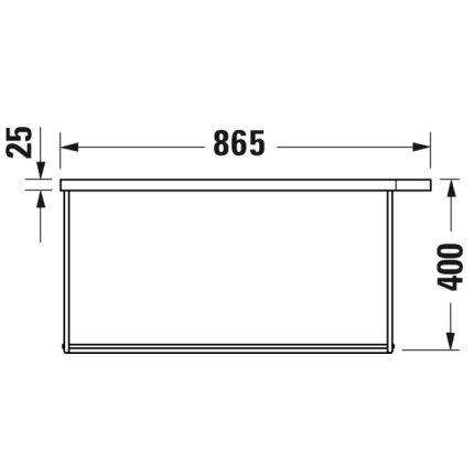 Consola metalica suspendata pentru lavoar Duravit DuraSquare 865x451mm, cu port-prosop reversibil, fara raft, negru mat