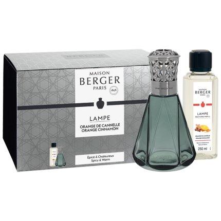 Set Berger lampa catalitica Berger Vintage Pyramide Vert cu parfum Orange de Cannelle 250ml