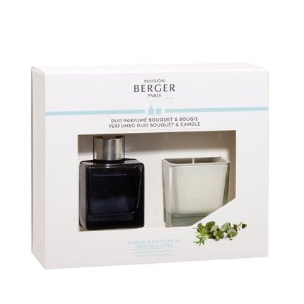 Set Berger Duo Bouquet Parfume Cube 80ml + lumanare parfumata 80g Fraicheur d'Eucalyptus