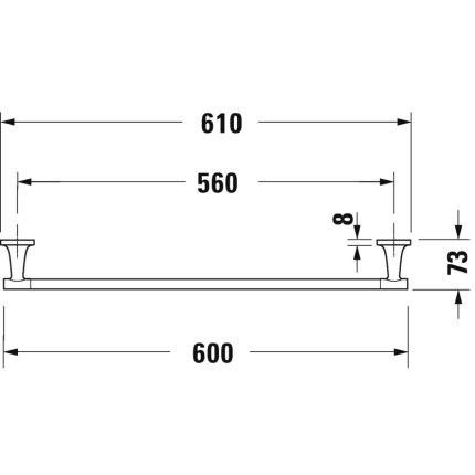 Bara port prosop Duravit Starck T 60cm, negru mat