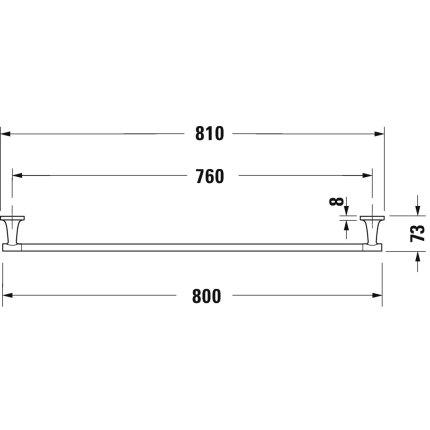 Bara port prosop Duravit Starck T 80cm, crom