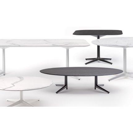 Masuta rotunda Kartell Multiplo Low design Antonio Citterio, d118cm, h43cm, blat cu finisaj marmura, alb