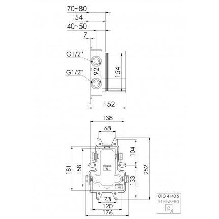 Corp ingropat Steinberg 010 4140 S pentru baterie termostatata cada