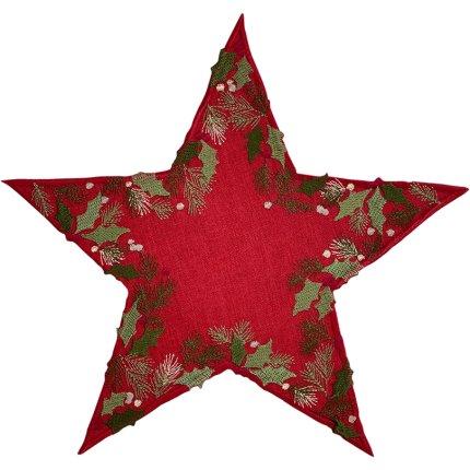 Suport farfurii Sander Embroidery X-Mas Garland Star d30cm, 26 Burgundy
