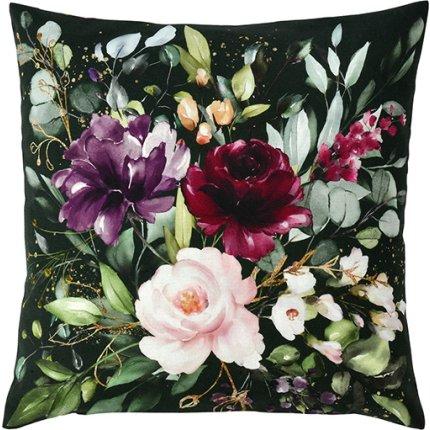 Husa perna Sander Prints Deep Flowers 40x40cm, 11 verde mar