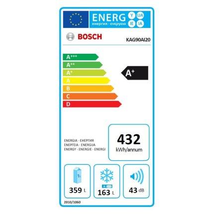 Combina frigorifica Side-By-Side Bosch KAG90AI20 Serie 6, Clasa A+, NoFrost, 522 litri, dozator apa si gheata, filtru apa, Multi-AirFlow, usi Inox antiamprenta