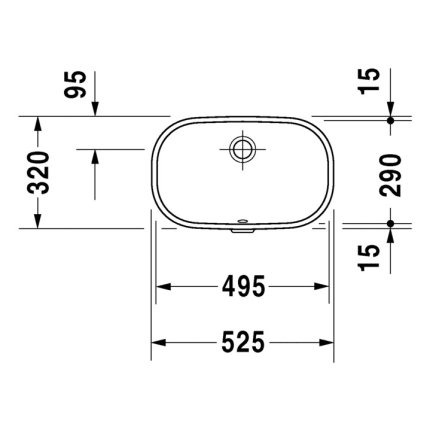 Lavoar Duravit D-Code 49.5x20cm fara orificiu baterie, montare sub blat