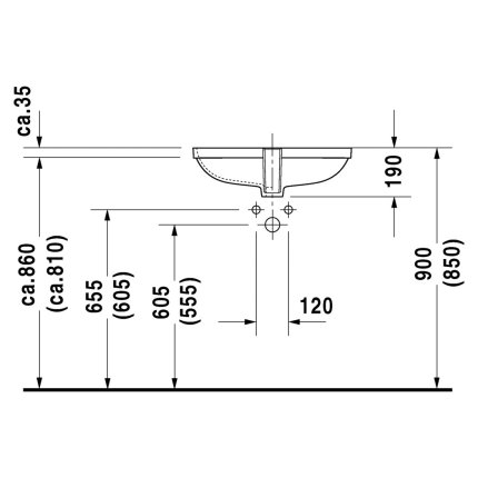 Lavoar Duravit D-Code 56x40cm, fara orificiu baterie, montare sub blat