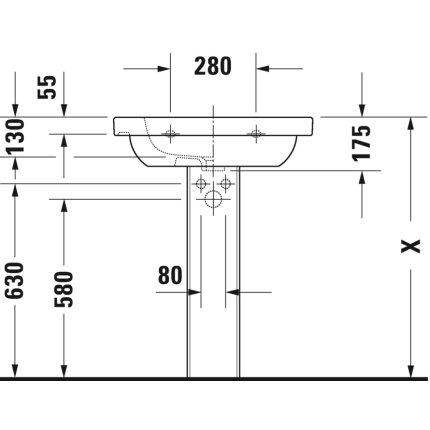 Lavoar Duravit D-Code 65x48.5cm, montare pe mobilier