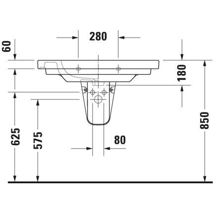 Lavoar Duravit D-Code 85x48cm, montare pe mobilier