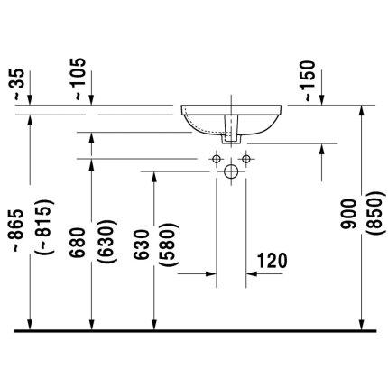 Lavoar Duravit Durastyle 40x40cm, fara orificiu baterie, montare sub blat