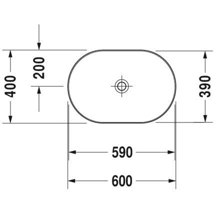 Lavoar tip bol Duravit Luv 60x40cm, fara orificiu baterie, fara preaplin, montare pe blat, include capac ceramic, alb lucios interior/alb satin mat exterior
