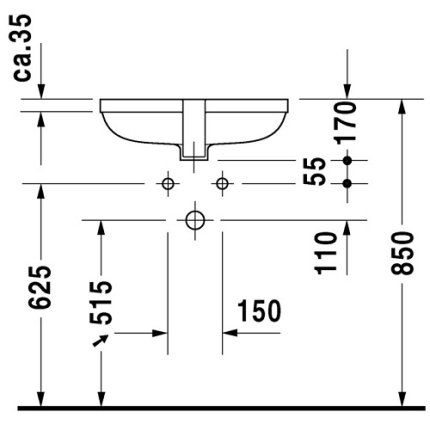 Lavoar Duravit Happy D 48cm, montare sub blat