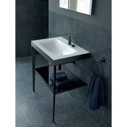 Set mobilier Duravit XViu cu lavoar 100cm fara orificiu baterie, consola metalica negru mat si raft de sticla negru lucios