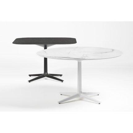 Masa Kartell Multiplo design Antonio Citterio, 78x78cm, h74cm, blat sticla, alb