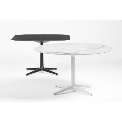 Masa Kartell Multiplo design Antonio Citterio, 99x99cm, h74cm, blat cu finisaj marmura, negru