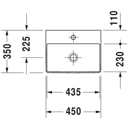Lavoar Duravit DuraSquare 45x35 cm, fara preaplin, cu capac ceramic pentru ventil inclus si finisaj suplimentar