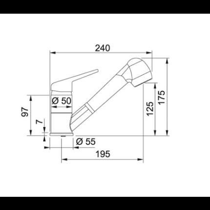 Set Franke: chiuveta inox ROX 610-41 Rotondo + baterie Novara Plus cu dus extractibil