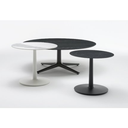 Masa rotunda Kartell Multiplo design Antonio Citterio, d118cm, h74cm, baza patrata, blat cu finisaj marmura, alb