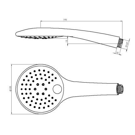 Para de dus Steinberg Sensual Rain seria 390 Pushtronic diametru 123mm cu 3 functii