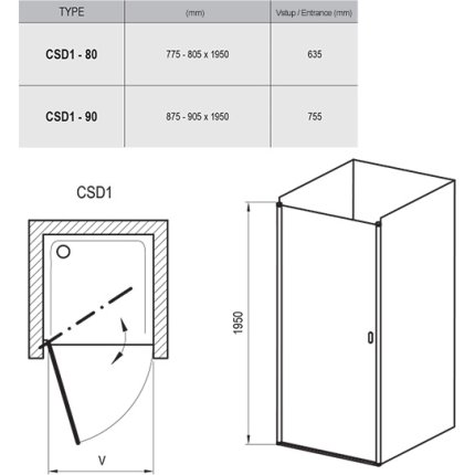 Usa de nisa Ravak Concept Chrome CSD1-90, 90cm, crom mat