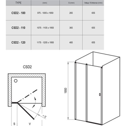 Usa de nisa Ravak Concept Chrome CSD2-110, 110cm, alb