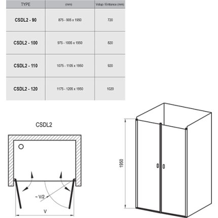 Usa de nisa Ravak Concept Chrome CSDL2-120 cu doua elemente batante, 120cm, crom lucios