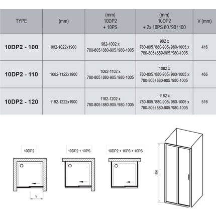 Usa de nisa glisanta Ravak Concept 10° 10DP2-100, 100cm, crom lucios