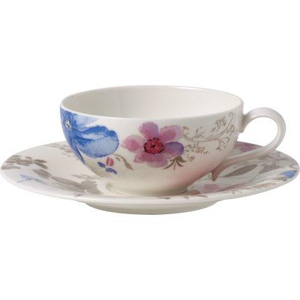 Ceasca si farfuriuta ceai Villeroy & Boch Mariefleur Gris Basic 0.24 litri