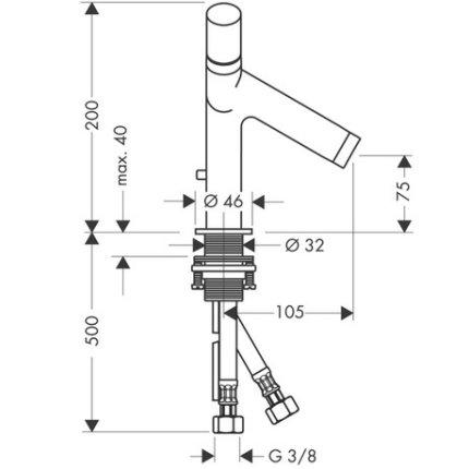 Baterie lavoar Hansgrohe Axor Starck dubla-comanda, ventil pop-up