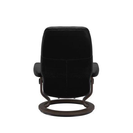 Fotoliu cu taburet Stressless Consul Classic M cadru Wenge tapiterie piele Batik Black