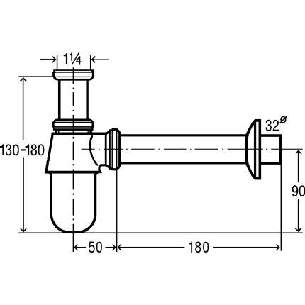 Sifon pentru lavoar Viega 32mm, alama cromata