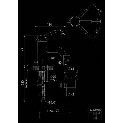 Baterie lavoar Steinberg seria 100 ventil pop-up, Rose Gold
