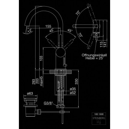 Baterie lavoar Steinberg Seria 100 crom cu pipa rotativa, ventil pop-up