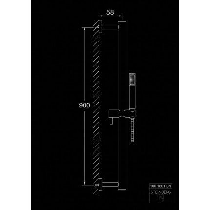 Set de dus Steinberg seria 100 Brushed Nickel cu para de dus, bara 90cm si furtun 180cm