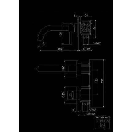 Baterie lavoar Steinberg Seria 100 Rose Gold din doua elemente, de perete, proiectie 195mm