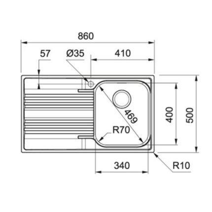 Chiuveta Franke Smart SRX 611-86, 860 x 500mm slim, picurator dreapta, inox satinat
