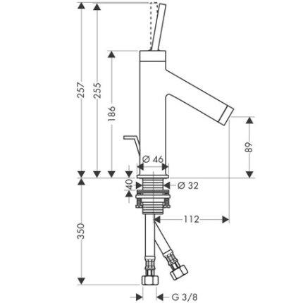 Baterie lavoar Hansgrohe Axor Starck 185, ventil pop-up