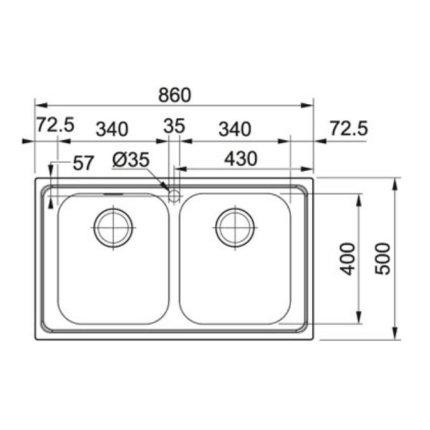 Chiuveta bucatarie Franke Smart SRX 620 slim, cu 2 cuve, 860x500mm, inox lucios
