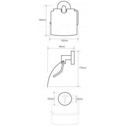 Suport hartie igienica cu aparatoare Bemeta Omega, crom