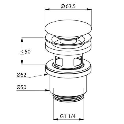 Ventil de scurgere Kludi pentru lavoar, cu push-open blocabil G1 1/4